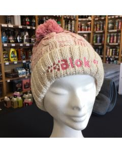 Blok 51 - Pink And White Bobble Hat - Fleece Lined