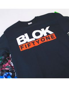 Blok 51 Orange and White Logo on Black T shirt