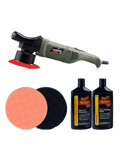 Chemical Guys Torq 10FX DA Machine Polisher Lake Country Pads and Meguiars Polishes Bundle